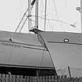 Ocean Adventure Until Then The Two Are In Dry Dock Monochrome  by Rosemarie E Seppala
