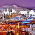 Ocean City By Night - Abstract Purple by Kim Bemis