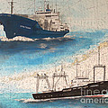 Ocean Phoenix And Excellence Boat Nautical Chart Map Art by Cathy Peek