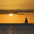 Ocean sailing sunset