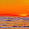 Ocean Sunset In Orange And Blue by Ben and Raisa Gertsberg