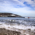 Ocean Waves Blue Sky And A Surfer At Malibu Beach Pier by Jerry Cowart