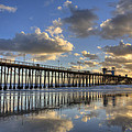 Oceanside Pier Sunset Reflection by Peter Tellone