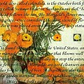 October's Child Birthday Card With Text And Marigolds by Taiche Acrylic Art