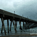 Oean Pier - Surreal Stormy Blue Pier Beach Ocean Fishing Pier With Seagull by Kathy Fornal