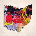 Ohio Map Art - Painted Map Of Ohio by World Art Prints And Designs