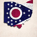 Ohio Map Art With Flag Design by World Art Prints And Designs