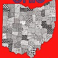 Ohio Map Red by Rebecca Jayne