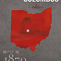 Ohio State University Buckeyes Columbus Ohio College Town State Map Poster Series No 005 by Design Turnpike