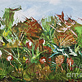 Oil And Acrylic Garden Abstract by James Lavott