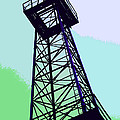 Oil Derrick In Green by Art Block Collections
