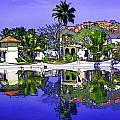 Oil Painting - Cottages And Lagoon Water by Ashish Agarwal