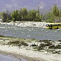 Oil Painting - Front Part Of School Bus In A Mountain Stream On The Outskirts Of Srinagar by Ashish Agarwal