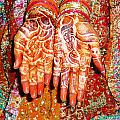 Oil Painting - Wonderfully Decorated Hands Of A Bride by Ashish Agarwal