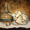 Oil Painting - Indian Pots by Roena King