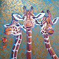 Oil Painting Of Three Gorgeous Giraffes by Gill Bustamante