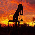 Oil Pump Beneath A Blazing Sky by James Granberry
