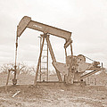 Oil Pump In Sepia by James Granberry