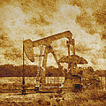 Oil Pump Jack In Sepia Two by Ann Powell