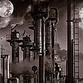 Oil Refinery With A Surreal Moonlight by Christian Lagereek