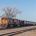 Bnsf Oil Train In Dilworth Minnesota by Steve Boyko