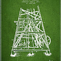 Oil Well Rig Patent From 1893 - Green by Aged Pixel