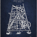 Oil Well Rig Patent From 1893 - Navy Blue by Aged Pixel