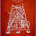 Oil Well Rig Patent From 1893 - Red by Aged Pixel