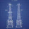 Oil Well Rig Patent From 1927 - Blueprint by Aged Pixel