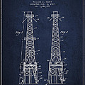 Oil Well Rig Patent From 1927 - Navy Blue by Aged Pixel