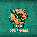 Oklahoma State Flag Art On Worn Canvas by Design Turnpike