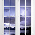Old 16 Pane White Window Stormy Lightning Lake View by James BO Insogna