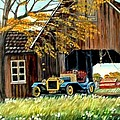 Old Barn And Old Car by Kenneth LePoidevin