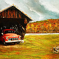 Old Barn And Red Truck by Lourry Legarde