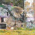 Old Barn And Silos Digital Paint by Debbie Portwood