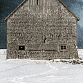 Old Barn In A Snow Storm by Edward Fielding