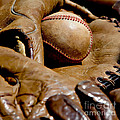 Old Baseball Ball And Gloves by Art Block Collections