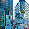 Old Believer-new Believer Church Amid Skyscrapers In Moscow-russia by Ruth Hager