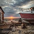 Old Boat At Sunset by Ivor Toms