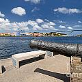Old Cannon And Queen Juliana Bridge Curacao by Amy Cicconi
