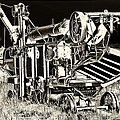 Old Case Thresher - Black And White by Bill Kesler