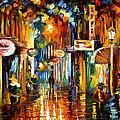 Old City Street - Palette Knife Oil Painting On Canvas By Leonid Afremov by Leonid Afremov