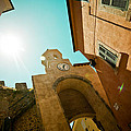 Old Clock On The Tower And Sun by Raimond Klavins