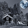 Old Cottage And Landscape With A Full Moon by Christian Lagereek