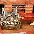 Old Desk With Type Writer by Gunter Nezhoda