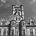 Old Dupage County Courthouse Flag Black And White by Christopher Arndt
