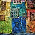 Old Fashion Bike And Blue Wall by Blake Richards