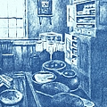 Old Fashioned Kitchen In Blue by Kendall Kessler