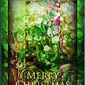 Old Fashioned Merry Christmas - Roses And Babys Breath - Holiday And Christmas Card by Miriam Danar