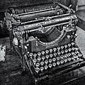 Old Fashioned Underwood Typewriter Bw by Susan Candelario